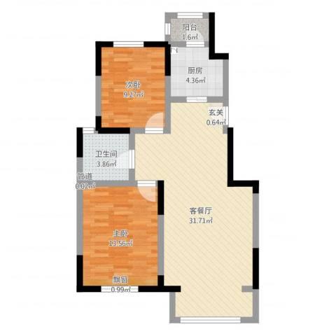 宝境檀香2室2厅1卫1厨80.00㎡户型图