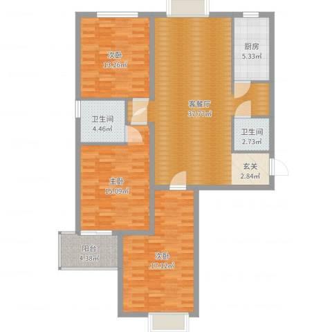 天阔逸城3室2厅2卫1厨125.00㎡户型图