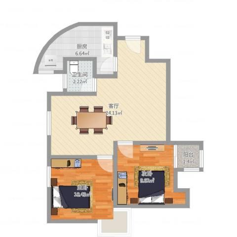 馨佳园六街坊2室1厅1卫1厨68.00㎡户型图