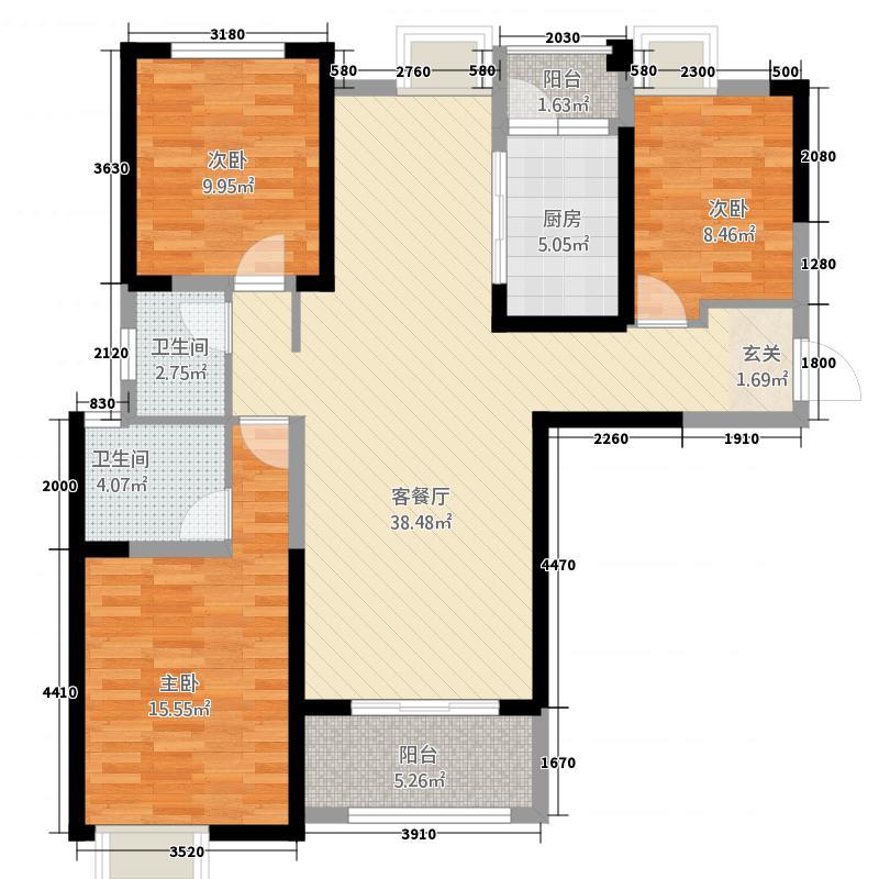 泰岩锦江城13131.54㎡B1户型3室2厅2卫1厨