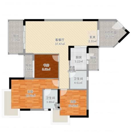 盛天龙湾3室2厅2卫1厨135.00㎡户型图