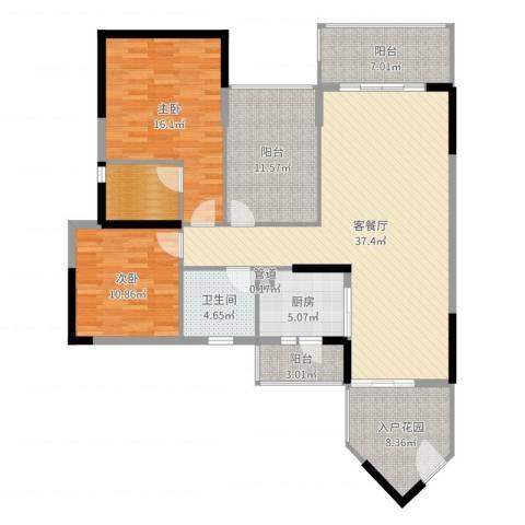 盛天龙湾2室2厅1卫1厨135.00㎡户型图