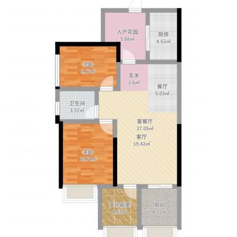 时代倾城2室2厅1卫1厨87.00㎡户型图