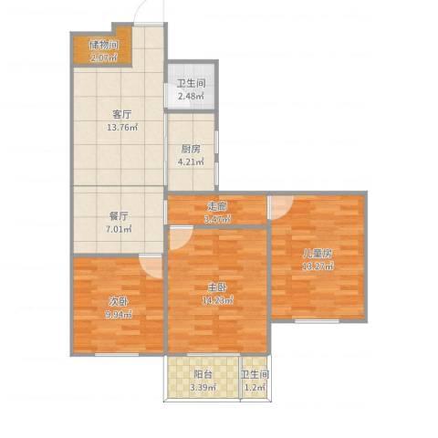 津泰新村3室2厅2卫1厨94.00㎡户型图