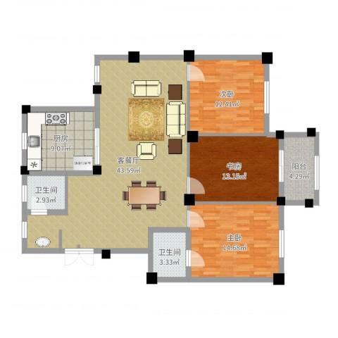 紫悦府3室2厅2卫1厨129.00㎡户型图