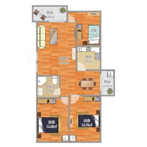 同德花园3室2厅1卫1厨89.00㎡户型图