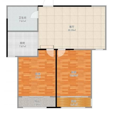 信泰龙跃国际2室1厅1卫1厨109.00㎡户型图