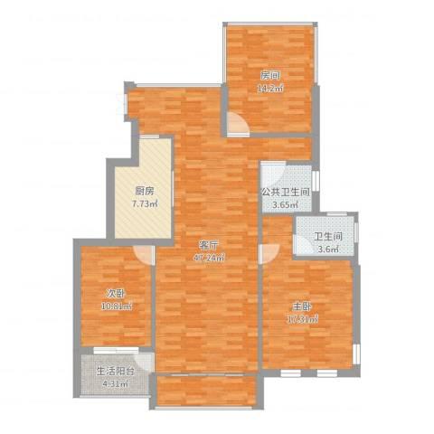恒升紫悦府4室1厅2卫1厨152.00㎡户型图
