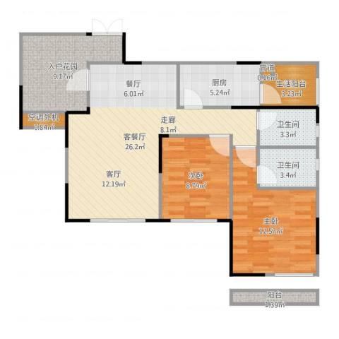 融科海阔天空2室2厅2卫1厨93.00㎡户型图