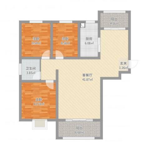 华冶新天地3室2厅1卫1厨117.00㎡户型图