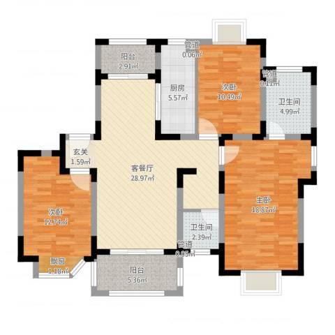 农房・英伦尊邸3室2厅2卫1厨116.00㎡户型图