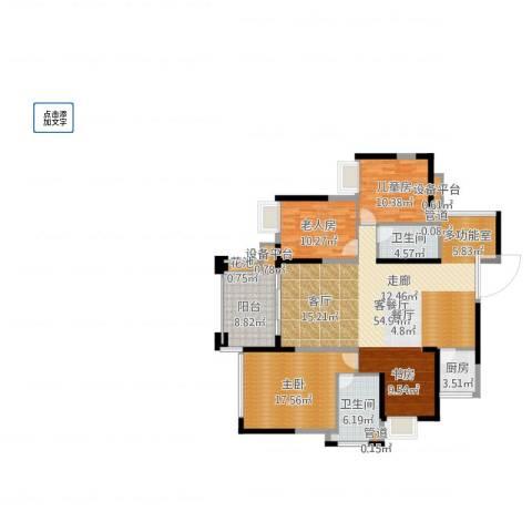 建曙高尔夫1号3室2厅2卫1厨148.00㎡户型图