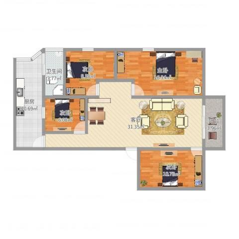 芳村大道西小区4室1厅1卫1厨114.00㎡户型图
