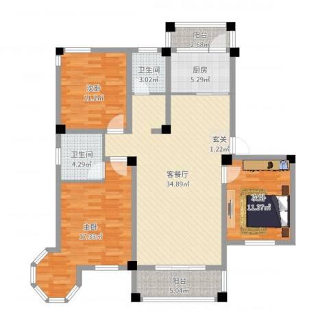 维多利亚花园3室2厅2卫1厨119.00㎡户型图