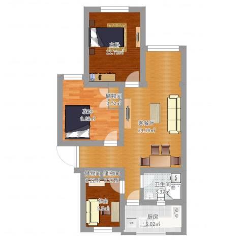 品新苑3室2厅1卫1厨75.00㎡户型图