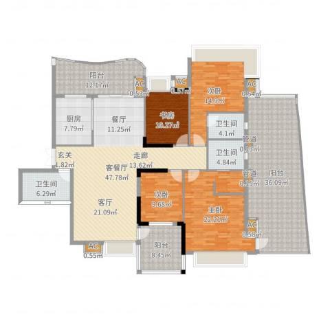 广州雅居乐花园・天域4室2厅3卫1厨235.00㎡户型图