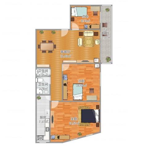 塞坝路小区3室2厅2卫1厨120.00㎡户型图