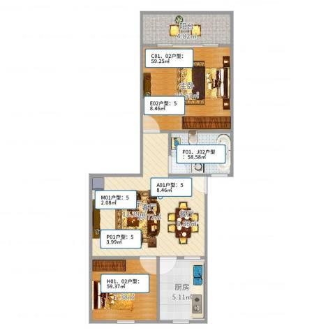 汇禾新城2室1厅1卫1厨73.00㎡户型图