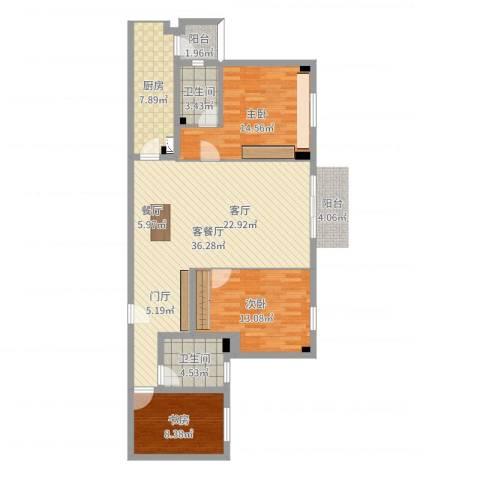 衣锦华庭3室2厅2卫1厨113.00㎡户型图