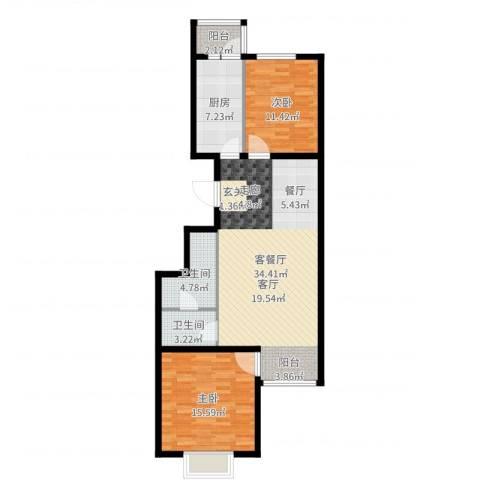 汇豪山水华府2室2厅2卫1厨98.00㎡户型图