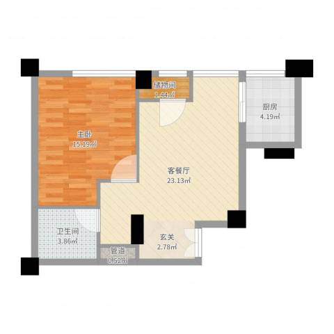 常青藤单身公寓1室2厅1卫1厨48.33㎡户型图