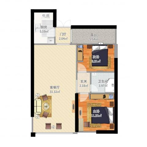 高盛金融中心2室2厅1卫1厨87.00㎡户型图