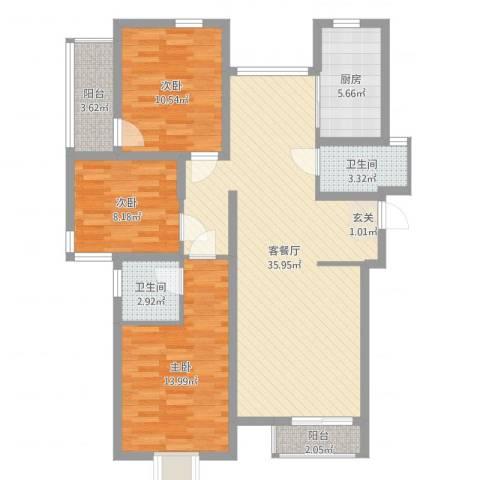 厦禾商厦3室2厅2卫1厨108.00㎡户型图