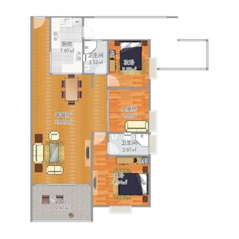东方顺景3室2厅2卫1厨119.00㎡户型图