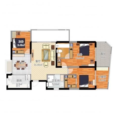 新中国际3室1厅1卫1厨128.00㎡户型图