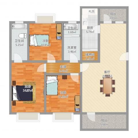 锦华东南苑3室1厅2卫1厨119.00㎡户型图