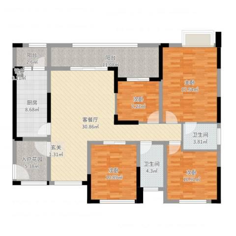 融科海阔天空二期4室2厅2卫1厨142.00㎡户型图