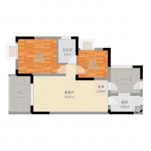 融科海阔天空二期2室2厅1卫1厨82.00㎡户型图