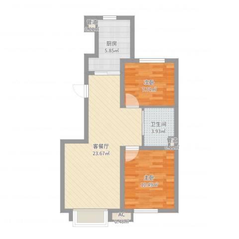 万科金域长春2室2厅1卫1厨66.00㎡户型图