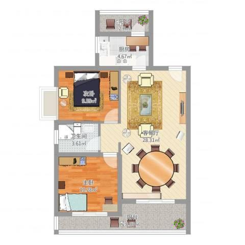盛世华城2室2厅1卫1厨84.00㎡户型图