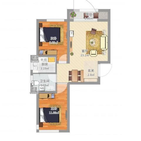 天盛名都2室1厅3卫1厨67.00㎡户型图