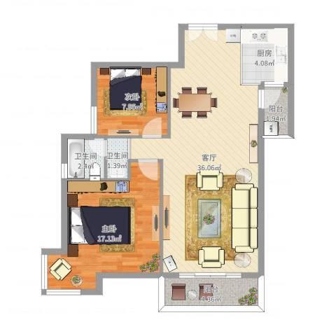 盛世郦都2室1厅2卫1厨84.47㎡户型图