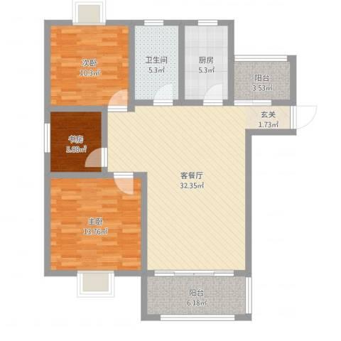 华冶新天地3室2厅1卫1厨102.00㎡户型图