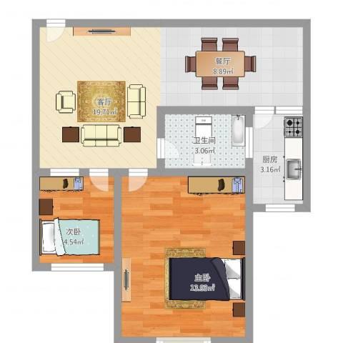 白玉兰馨园2室1厅1卫1厨56.00㎡户型图
