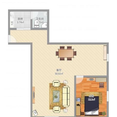 隆城大厦1室1厅1卫1厨87.00㎡户型图