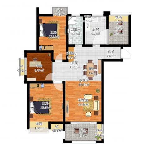 亚泰梧桐世家3室2厅1卫1厨122.00㎡户型图