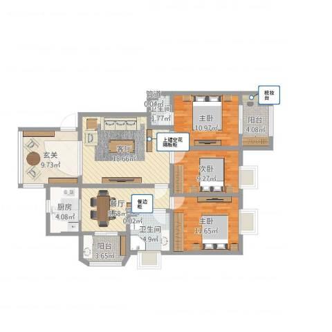 华厦绿城3室2厅4卫1厨130.00㎡户型图