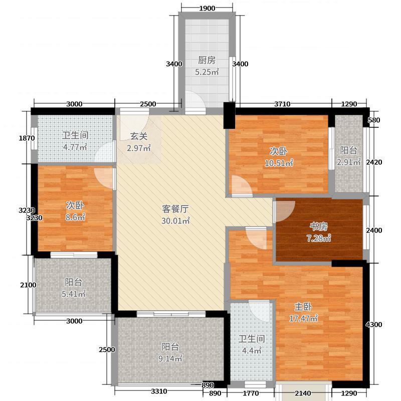 海景1号1323134.63㎡3#02户型3室2厅2卫1厨
