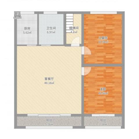 东升苑2室2厅1卫1厨125.00㎡户型图