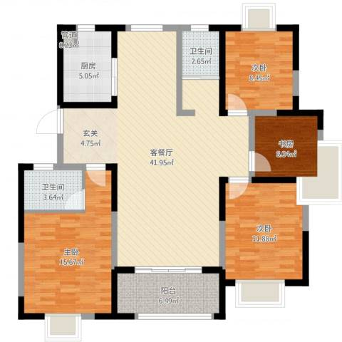 华冶新天地4室2厅2卫1厨128.00㎡户型图