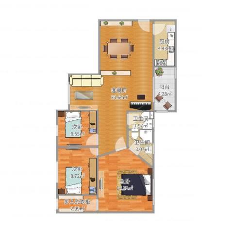 南航新村3室2厅2卫1厨101.00㎡户型图