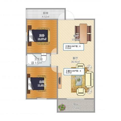 汇禾新城2室1厅1卫1厨100.00㎡户型图
