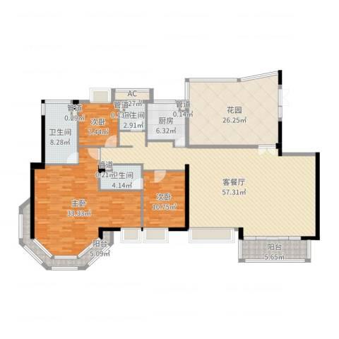 博士金海豪园3室2厅3卫1厨212.00㎡户型图