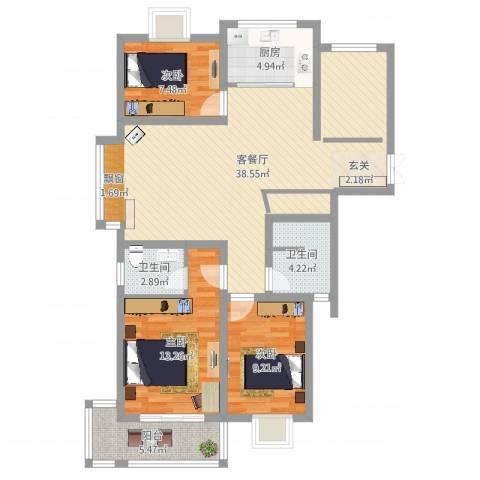 德汇公馆3室2厅2卫1厨86.01㎡户型图