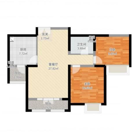 西华公馆2室2厅1卫1厨85.00㎡户型图