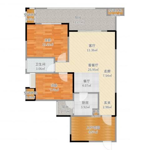 融科海阔天空2室2厅1卫1厨95.00㎡户型图